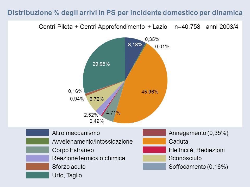 Altro meccanismoAnnegamento (0,35%) Avvelenamento/IntossicazioneCaduta Corpo EstraneoElettricità, Radiazioni Reazione termica o chimicaSconosciuto Sforzo acutoSoffocamento (0,16%) Urto, Taglio 8,18% 0,01% 0,35% 45,96% 4,71% 0,49% 2,52% 6,72% 0,94% 0,16% 29,95% Centri Pilota + Centri Approfondimento + Lazio n=40.758 anni 2003/4 Distribuzione % degli arrivi in PS per incidente domestico per dinamica