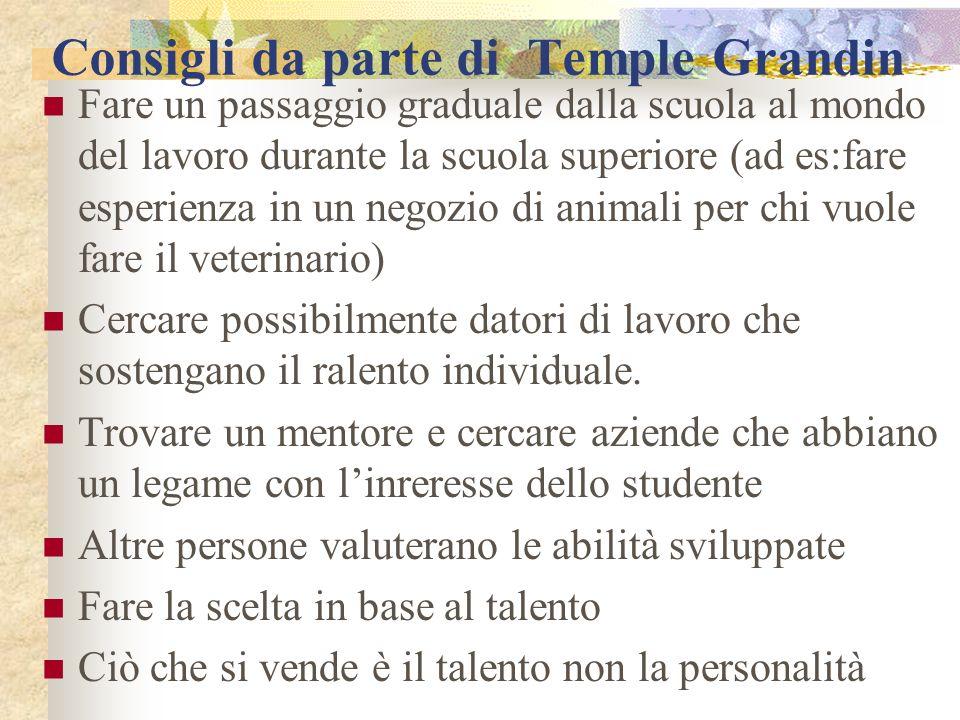 Consigli da parte di Temple Grandin Fare un passaggio graduale dalla scuola al mondo del lavoro durante la scuola superiore (ad es:fare esperienza in un negozio di animali per chi vuole fare il veterinario) Cercare possibilmente datori di lavoro che sostengano il ralento individuale.