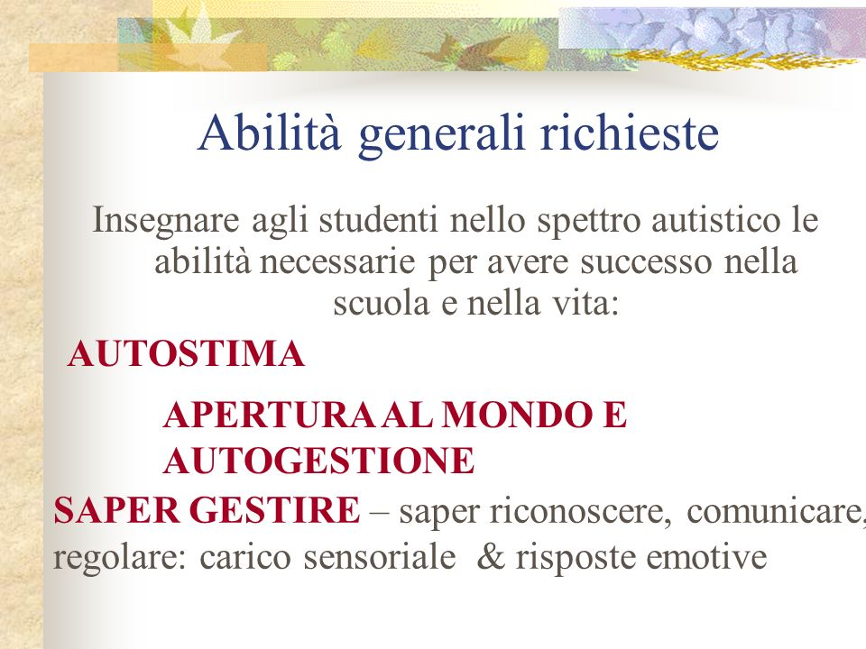Abilità generali richieste Insegnare agli studenti nello spettro autistico le abilità necessarie per avere successo nella scuola e nella vita: AUTOSTIMA SAPER GESTIRE – saper riconoscere, comunicare, regolare: carico sensoriale & risposte emotive APERTURA AL MONDO E AUTOGESTIONE