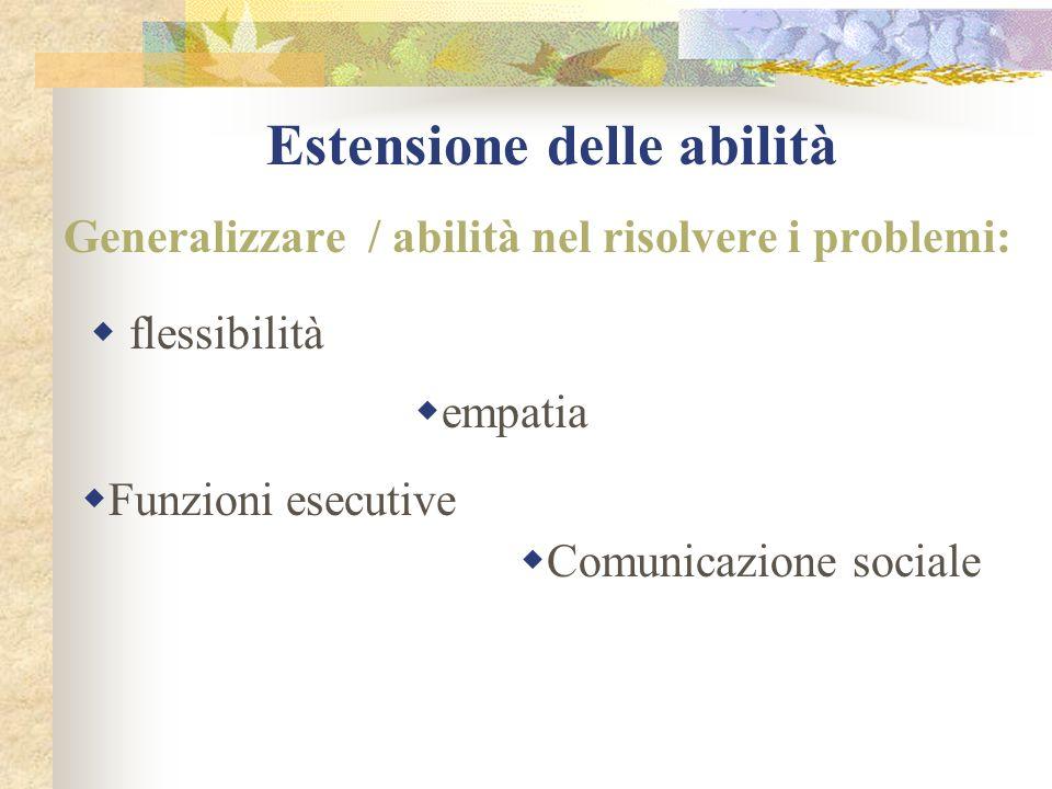 Estensione delle abilità Generalizzare / abilità nel risolvere i problemi: flessibilità empatia Funzioni esecutive Comunicazione sociale