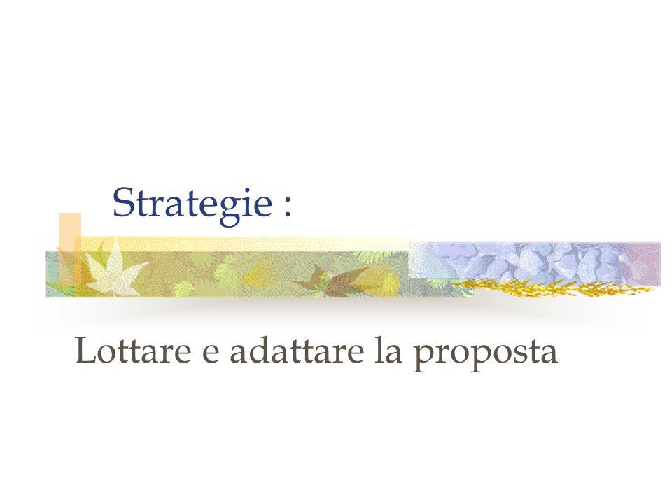 Strategie : Lottare e adattare la proposta