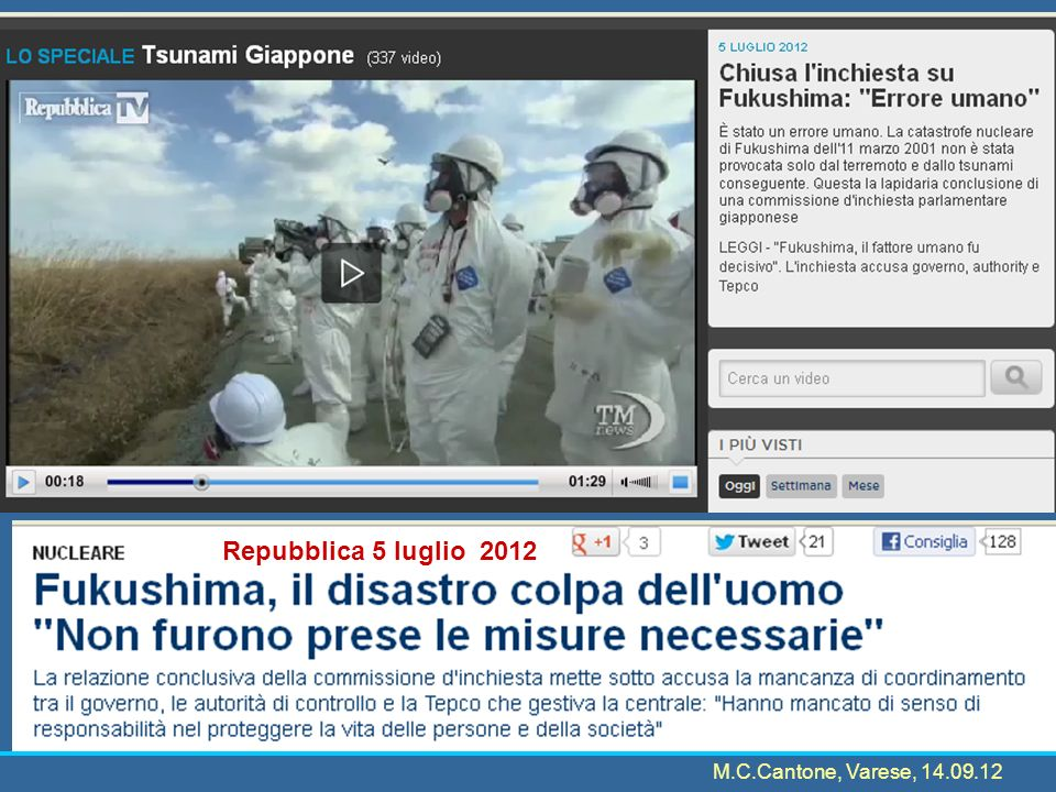 11 March in parte da http://iis-db.stanford.edu/pubs/23762/Japans_Fukushima_Nuclear_Disaster.pdf 14:46M9.0 earthquake 14:50 approax tsunami hits Fukushima Daiichi During the initial time of crisis:neither TEPCOs chairman (he was in China for a mission, and the was back abaut 20 h afte the disaster), widely considered the center of power, nor the president (he was ivacation in Nara, and he was back after 24 h), were at TEPCO headquarters 15:00 approax, the plant manager in charge, Yoshida, sent faxes to TEPCO headquarters and NISA (located within METI), officially declaring that a nuclear emergency was likely to occur 16:30 he sent another message upgrading it to emergency in progress, a status that automatically triggers an evacuation order.Yoshida noted that they were unable to cool the reactors and could not monitor the water levels of Reactors 1 and 2.
