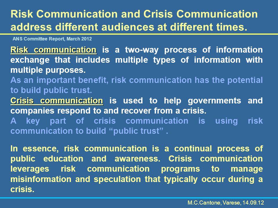 La Crisis Communication ideale In condizione di crisi le autorità governative dovrebbero comunicare in modo efficace, alla popolazione e alla comunità internazionale, i rischi associati alla crisi e gli sforzi per gestire la crisi, articolando il tutto in modo chiaro.