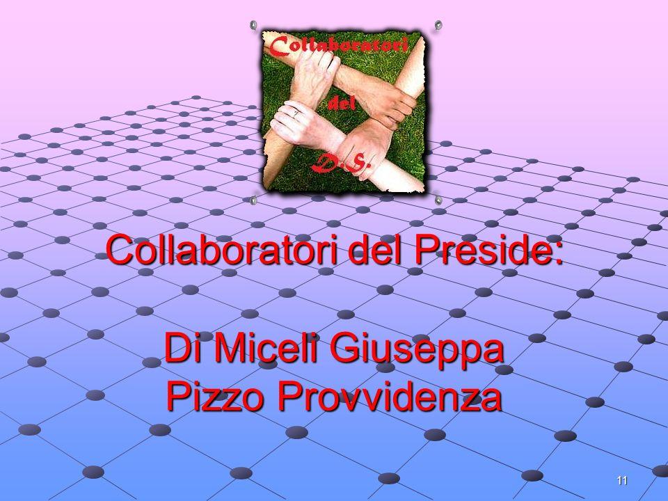 11 Collaboratori del Preside: Di Miceli Giuseppa Pizzo Provvidenza