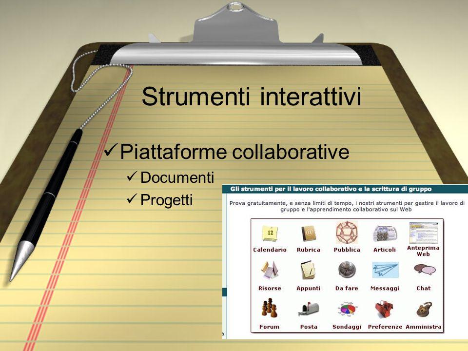 Strumenti interattivi Piattaforme collaborative Documenti Progetti