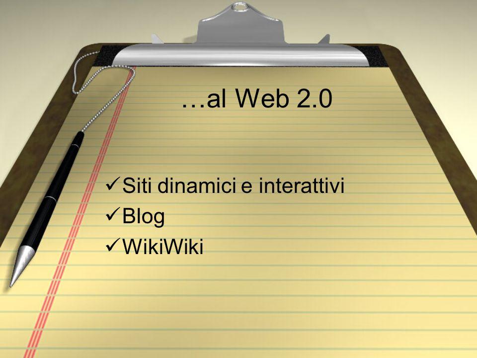 …al Web 2.0 Siti dinamici e interattivi Blog WikiWiki