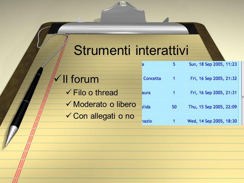 Strumenti interattivi Il forum Filo o thread Moderato o libero Con allegati o no