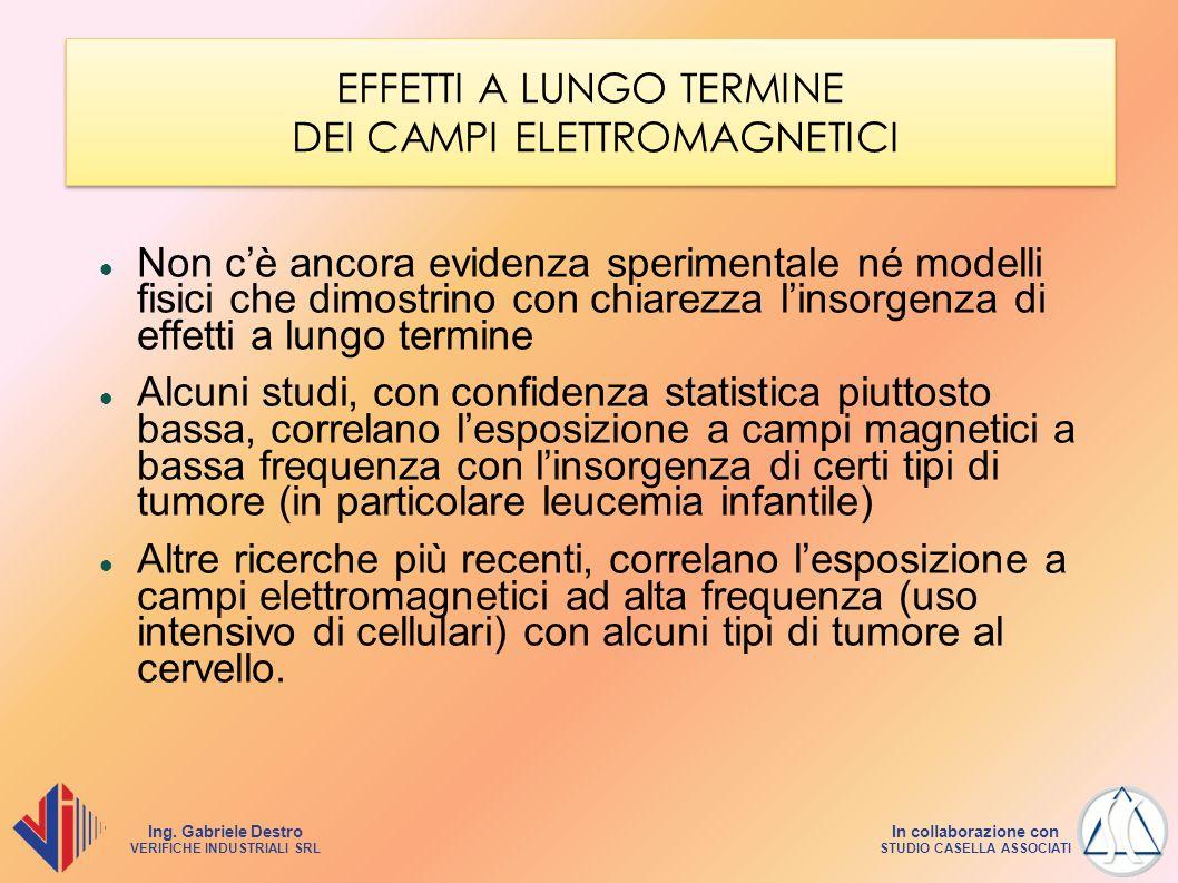 Ing. Gabriele Destro VERIFICHE INDUSTRIALI SRL In collaborazione con STUDIO CASELLA ASSOCIATI EFFETTI A LUNGO TERMINE DEI CAMPI ELETTROMAGNETICI Non c