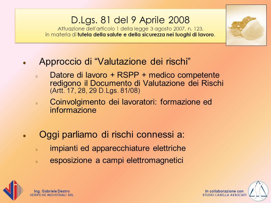 Ing. Gabriele Destro VERIFICHE INDUSTRIALI SRL In collaborazione con STUDIO CASELLA ASSOCIATI D.Lgs. 81 del 9 Aprile 2008 Attuazione dell'articolo 1 d