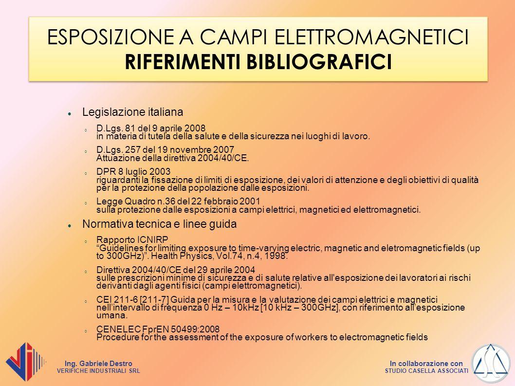 Ing. Gabriele Destro VERIFICHE INDUSTRIALI SRL In collaborazione con STUDIO CASELLA ASSOCIATI ESPOSIZIONE A CAMPI ELETTROMAGNETICI RIFERIMENTI BIBLIOG