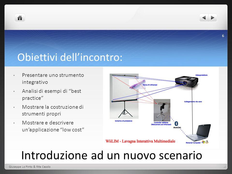 L a tecnologia Proiettore Wiimote iR pen PC dotato di bluetooth Spazio di proiezione Giuseppe Lo Pinto & Rita Casolo 7 Lavagna Parete ad alto contrasto Monitor o TV