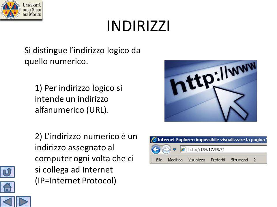 INDIRIZZI Si distingue lindirizzo logico da quello numerico. 1) Per indirizzo logico si intende un indirizzo alfanumerico (URL). 2) Lindirizzo numeric