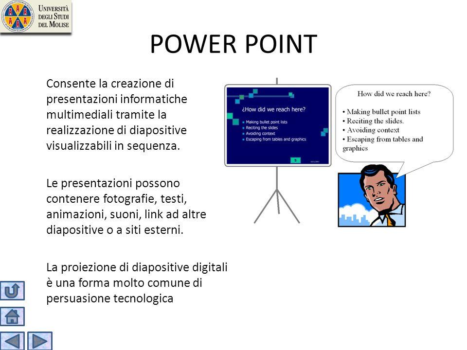 POWER POINT Consente la creazione di presentazioni informatiche multimediali tramite la realizzazione di diapositive visualizzabili in sequenza. Le pr