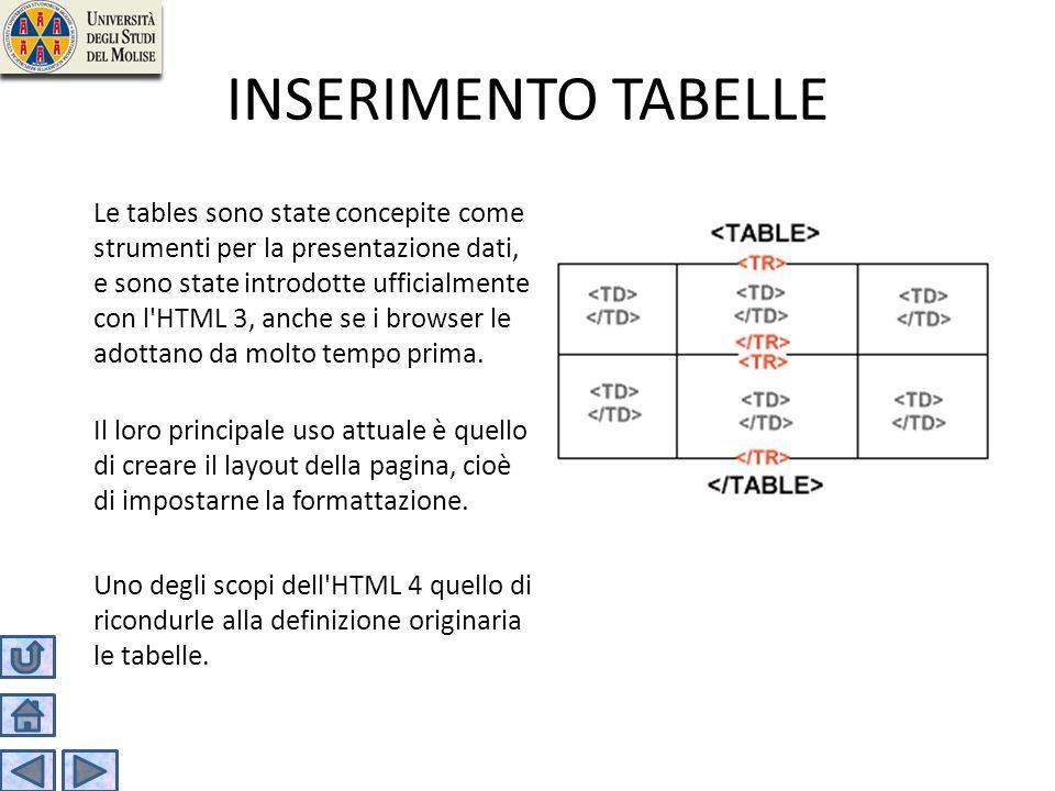 INSERIMENTO TABELLE Le tables sono state concepite come strumenti per la presentazione dati, e sono state introdotte ufficialmente con l'HTML 3, anche