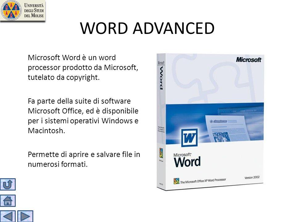 WORD ADVANCED Microsoft Word è un word processor prodotto da Microsoft, tutelato da copyright.