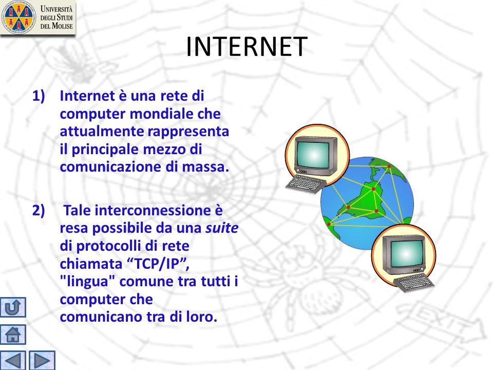 INTERNET 1)Internet è una rete di computer mondiale che attualmente rappresenta il principale mezzo di comunicazione di massa. 2) Tale interconnession