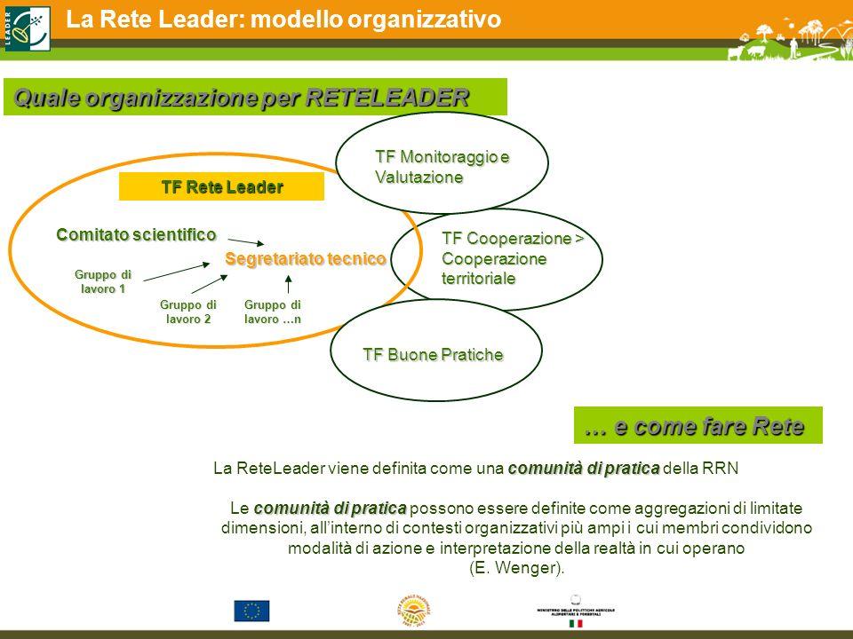 La Rete Leader: modello organizzativo Quale organizzazione per RETELEADER Comitato scientifico TF Rete Leader Segretariato tecnico Gruppo di lavoro 1