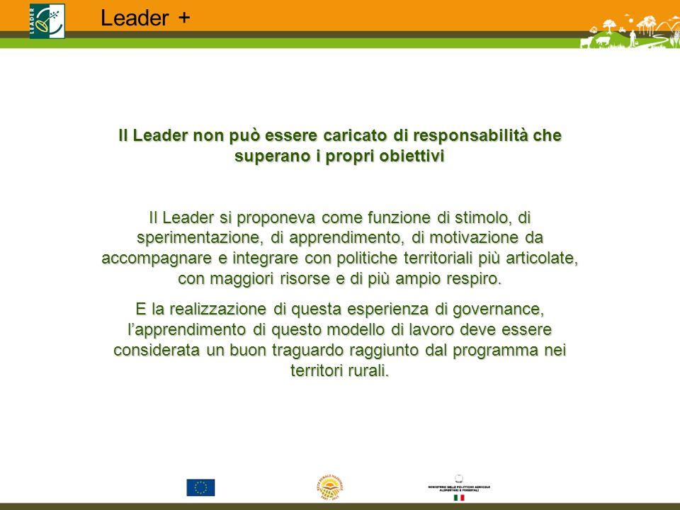 Il Leader non può essere caricato di responsabilità che superano i propri obiettivi Il Leader si proponeva come funzione di stimolo, di sperimentazion
