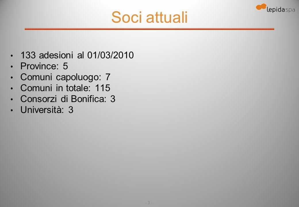 - 3 - Soci attuali 133 adesioni al 01/03/2010 Province: 5 Comuni capoluogo: 7 Comuni in totale: 115 Consorzi di Bonifica: 3 Università: 3