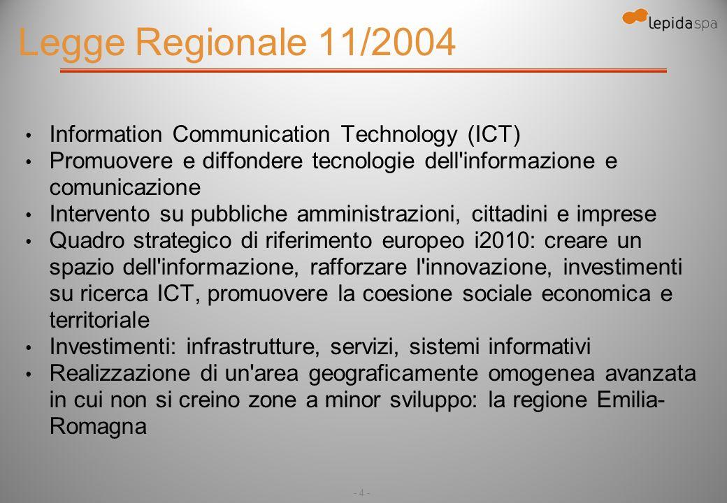 - 4 - Legge Regionale 11/2004 Information Communication Technology (ICT) Promuovere e diffondere tecnologie dell informazione e comunicazione Intervento su pubbliche amministrazioni, cittadini e imprese Quadro strategico di riferimento europeo i2010: creare un spazio dell informazione, rafforzare l innovazione, investimenti su ricerca ICT, promuovere la coesione sociale economica e territoriale Investimenti: infrastrutture, servizi, sistemi informativi Realizzazione di un area geograficamente omogenea avanzata in cui non si creino zone a minor sviluppo: la regione Emilia- Romagna