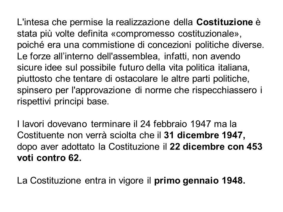 L intesa che permise la realizzazione della Costituzione è stata più volte definita «compromesso costituzionale», poiché era una commistione di concezioni politiche diverse.