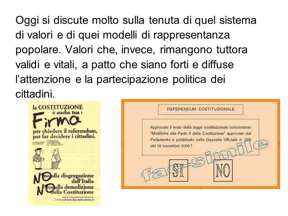 Oggi si discute molto sulla tenuta di quel sistema di valori e di quei modelli di rappresentanza popolare.