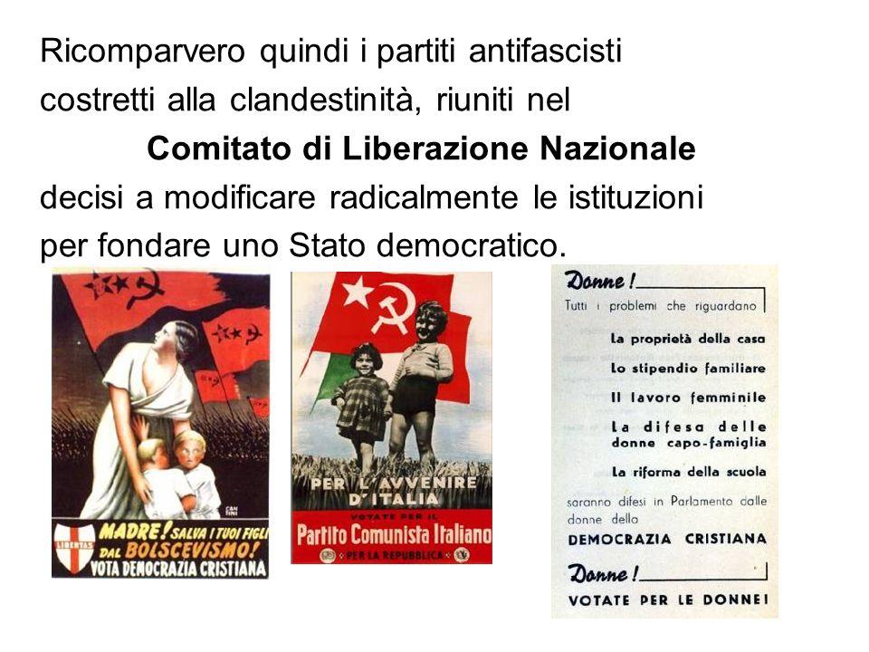 Ricomparvero quindi i partiti antifascisti costretti alla clandestinità, riuniti nel Comitato di Liberazione Nazionale decisi a modificare radicalmente le istituzioni per fondare uno Stato democratico.
