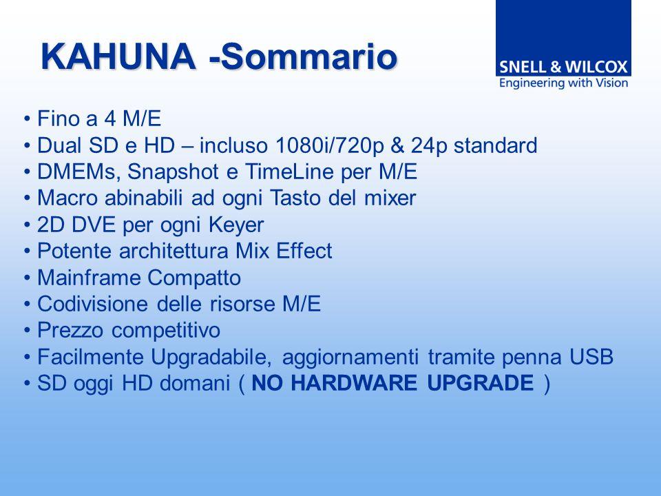 KAHUNA -Sommario Fino a 4 M/E Dual SD e HD – incluso 1080i/720p & 24p standard DMEMs, Snapshot e TimeLine per M/E Macro abinabili ad ogni Tasto del mixer 2D DVE per ogni Keyer Potente architettura Mix Effect Mainframe Compatto Codivisione delle risorse M/E Prezzo competitivo Facilmente Upgradabile, aggiornamenti tramite penna USB SD oggi HD domani ( NO HARDWARE UPGRADE )