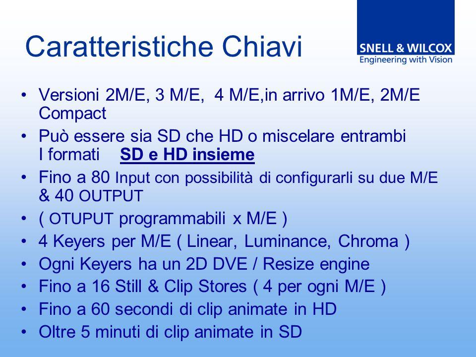 Caratteristiche Chiavi Versioni 2M/E, 3 M/E, 4 M/E,in arrivo 1M/E, 2M/E Compact Può essere sia SD che HD o miscelare entrambi I formati SD e HD insieme Fino a 80 Input con possibilità di configurarli su due M/E & 40 OUTPUT ( OTUPUT programmabili x M/E ) 4 Keyers per M/E ( Linear, Luminance, Chroma ) Ogni Keyers ha un 2D DVE / Resize engine Fino a 16 Still & Clip Stores ( 4 per ogni M/E ) Fino a 60 secondi di clip animate in HD Oltre 5 minuti di clip animate in SD