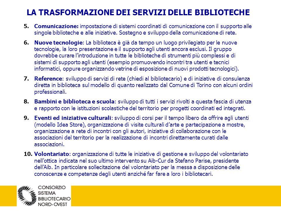 19 LA TRASFORMAZIONE DEI SERVIZI DELLE BIBLIOTECHE 5.Comunicazione: impostazione di sistemi coordinati di comunicazione con il supporto alle singole biblioteche e alle iniziative.