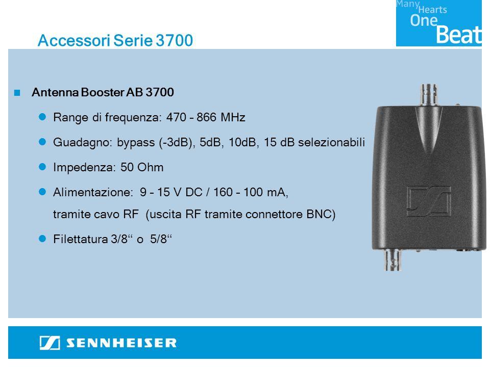 Accessori Serie 3700 Antenna Booster AB 3700 Range di frequenza: 470 – 866 MHz Guadagno: bypass (-3dB), 5dB, 10dB, 15 dB selezionabili Impedenza: 50 Ohm Alimentazione: 9 – 15 V DC / 160 – 100 mA, tramite cavo RF (uscita RF tramite connettore BNC) Filettatura 3/8 o 5/8