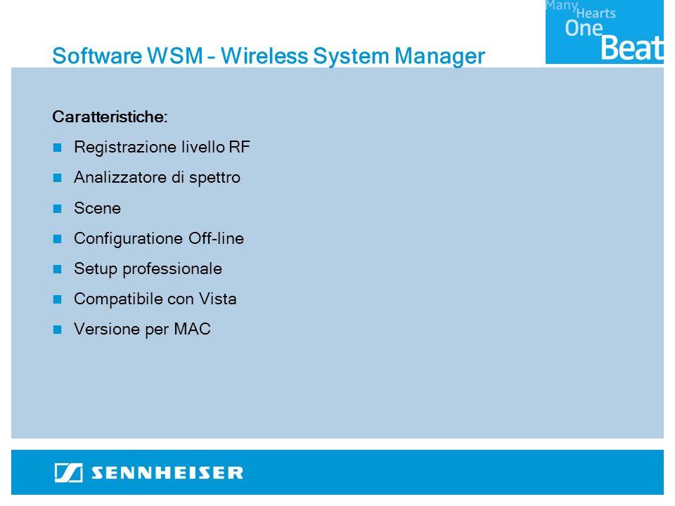 Software WSM – Wireless System Manager Caratteristiche: Registrazione livello RF Analizzatore di spettro Scene Configuratione Off-line Setup professionale Compatibile con Vista Versione per MAC