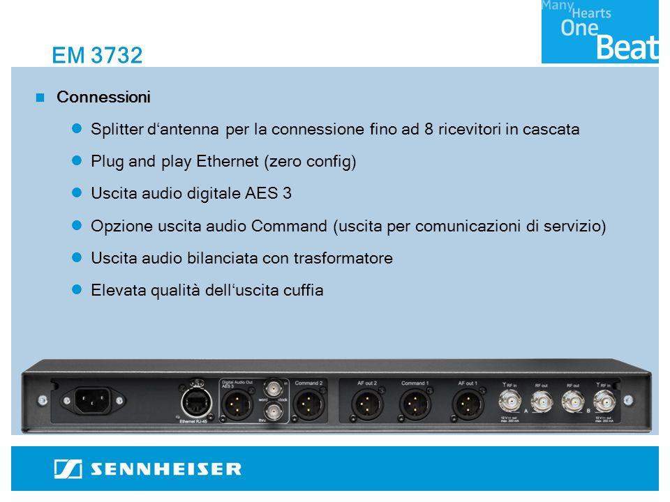 EM 3732 Connessioni Splitter dantenna per la connessione fino ad 8 ricevitori in cascata Plug and play Ethernet (zero config) Uscita audio digitale AES 3 Opzione uscita audio Command (uscita per comunicazioni di servizio) Uscita audio bilanciata con trasformatore Elevata qualità delluscita cuffia