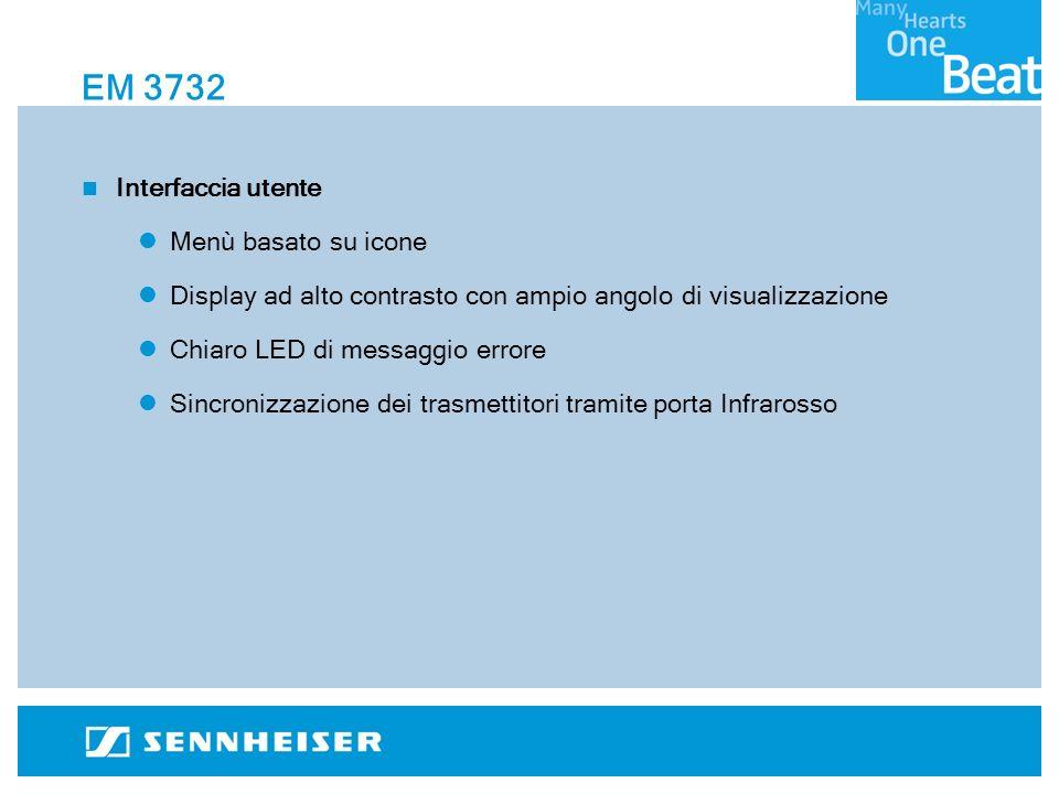 EM 3732 Interfaccia utente Menù basato su icone Display ad alto contrasto con ampio angolo di visualizzazione Chiaro LED di messaggio errore Sincronizzazione dei trasmettitori tramite porta Infrarosso