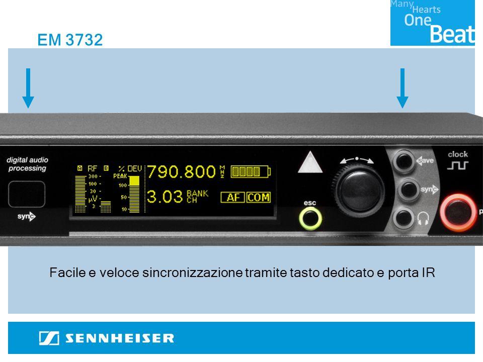 Facile e veloce sincronizzazione tramite tasto dedicato e porta IR EM 3732
