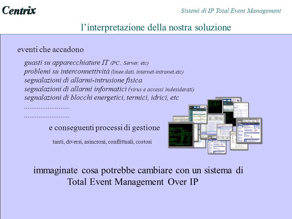 linterpretazione della nostra soluzione eventi che accadono guasti su apparecchiature IT (PC, Server, etc) problemi su interconnettività (linee dati, internet-intranet,etc) segnalazioni di allarmi-intrusione fisica segnalazioni di allarmi informatici ( virus e accessi indesiderati) segnalazioni di blocchi energetici, termici, idrici, etc.........................