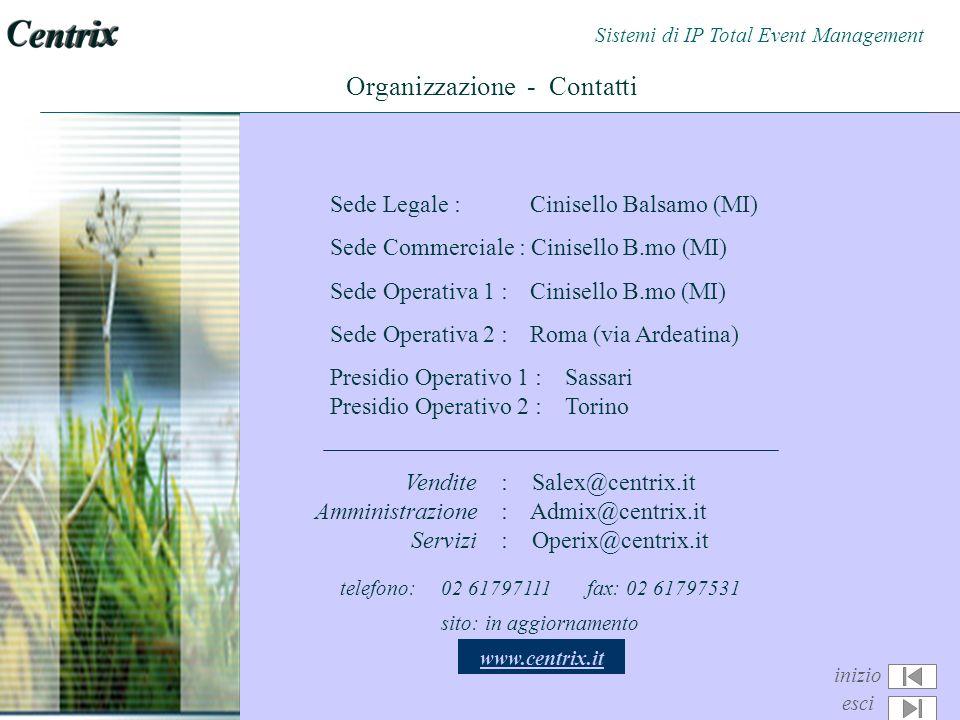 Organizzazione - Contatti Sede Legale : Cinisello Balsamo (MI) Sede Commerciale : Cinisello B.mo (MI) Sede Operativa 1 : Cinisello B.mo (MI) Sede Operativa 2 : Roma (via Ardeatina) Presidio Operativo 1 : Sassari Presidio Operativo 2 : Torino Vendite: Salex@centrix.it Amministrazione: Admix@centrix.it Servizi: Operix@centrix.it telefono: 02 61797111 fax: 02 61797531 sito: in aggiornamento www.centrix.it inizio esci Sistemi di IP Total Event Management