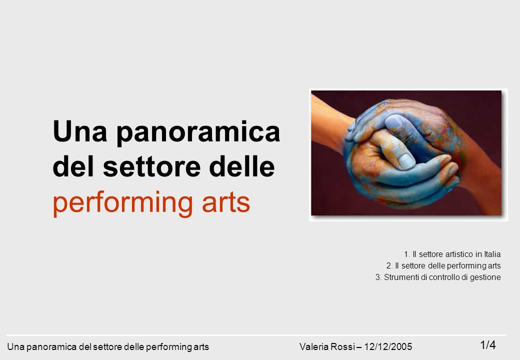 Giacomo Mason - Gennaio 2009 P r e s e n t a z i o n i e f f i c a c i c o n l e s l i d e 77/182 Una panoramica del settore delle performing arts 1.