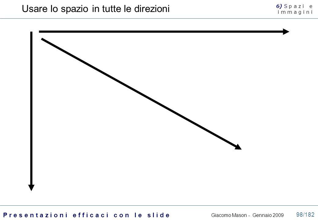 Giacomo Mason - Gennaio 2009 P r e s e n t a z i o n i e f f i c a c i c o n l e s l i d e 98/182 Usare lo spazio in tutte le direzioni 6) S p a z i e