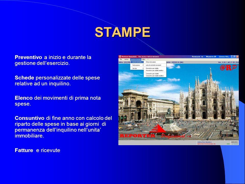 STAMPE Preventivo a inizio e durante la gestione dellesercizio.