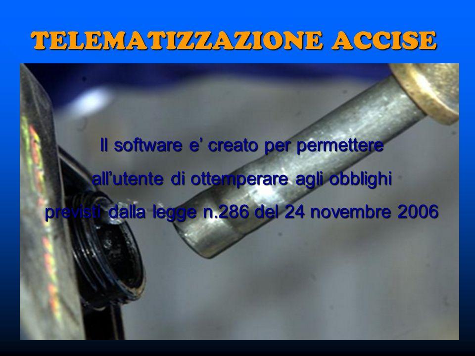Il software e creato per permettere allutente di ottemperare agli obblighi previsti dalla legge n.286 del 24 novembre 2006