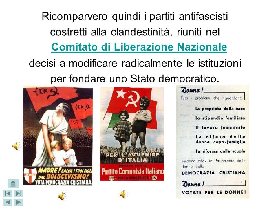 Ricomparvero quindi i partiti antifascisti costretti alla clandestinità, riuniti nel decisi a modificare radicalmente le istituzioni per fondare uno Stato democratico.
