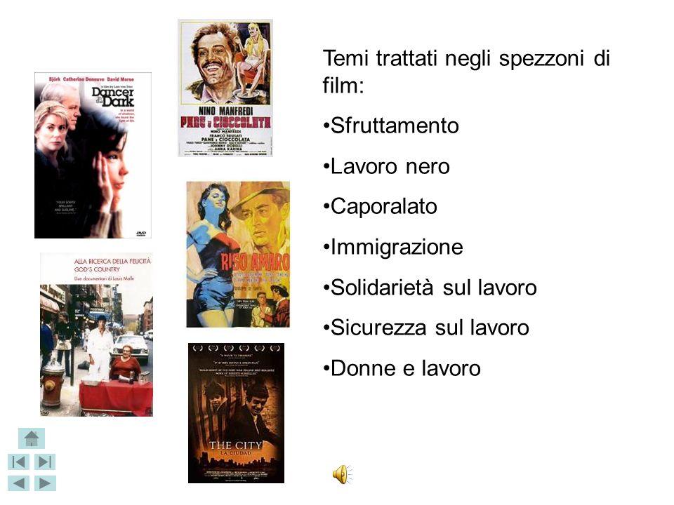 VIAGGI NELLE STORIE frammenti di cinema per narrare Sono stati proiettati alcuni spezzoni tratti da film, riguardanti il tema del lavoro e le problema