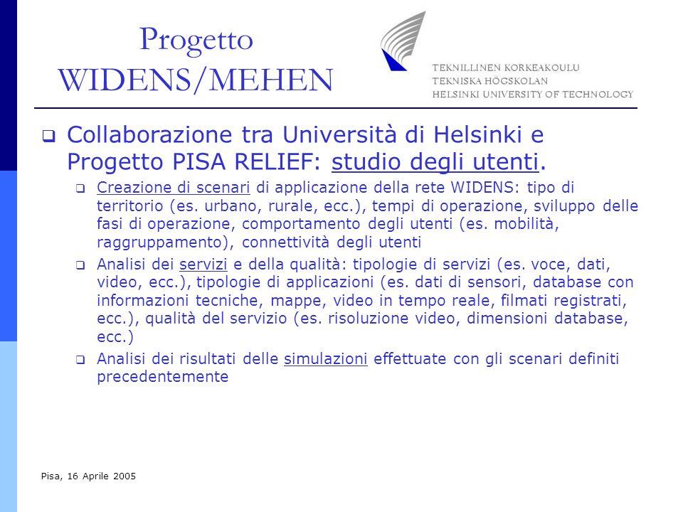 Progetto WIDENS/MEHEN Pisa, 16 Aprile 2005 Collaborazione tra Università di Helsinki e Progetto PISA RELIEF: studio degli utenti. Creazione di scenari
