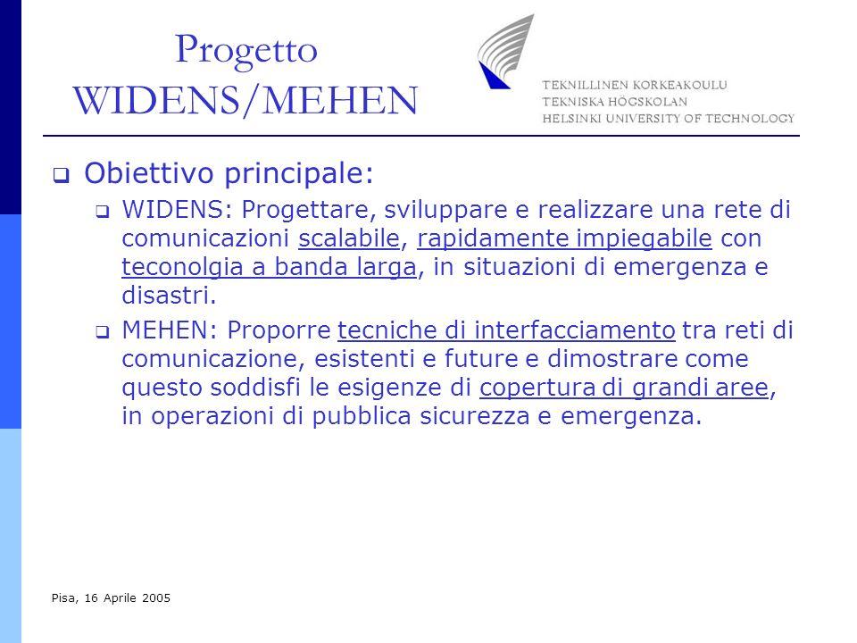 Progetto WIDENS/MEHEN Pisa, 16 Aprile 2005 Obiettivo principale: WIDENS: Progettare, sviluppare e realizzare una rete di comunicazioni scalabile, rapidamente impiegabile con teconolgia a banda larga, in situazioni di emergenza e disastri.