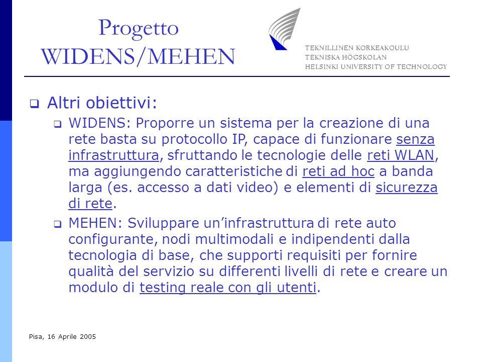 Progetto WIDENS/MEHEN Pisa, 16 Aprile 2005 Altri obiettivi: WIDENS: Proporre un sistema per la creazione di una rete basta su protocollo IP, capace di funzionare senza infrastruttura, sfruttando le tecnologie delle reti WLAN, ma aggiungendo caratteristiche di reti ad hoc a banda larga (es.