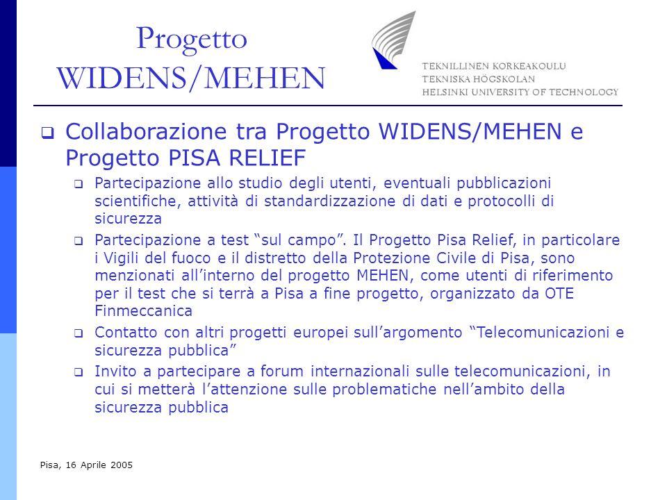 Progetto WIDENS/MEHEN Pisa, 16 Aprile 2005 Collaborazione tra Progetto WIDENS/MEHEN e Progetto PISA RELIEF Partecipazione allo studio degli utenti, eventuali pubblicazioni scientifiche, attività di standardizzazione di dati e protocolli di sicurezza Partecipazione a test sul campo.