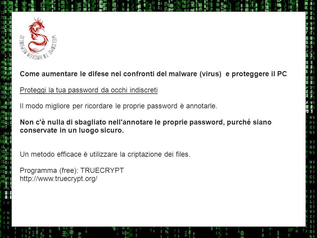 I sulla geo Come aumentare le difese nei confronti del malware (virus) e proteggere il PC Proteggi la tua password da occhi indiscreti Il modo miglior