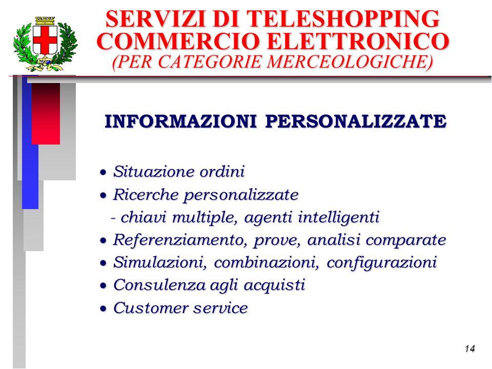 14 INFORMAZIONI PERSONALIZZATE Situazione ordini Ricerche personalizzate Ricerche personalizzate - chiavi multiple, agenti intelligenti Referenziamento, prove, analisi comparate Referenziamento, prove, analisi comparate Simulazioni, combinazioni, configurazioni Simulazioni, combinazioni, configurazioni Consulenza agli acquisti Consulenza agli acquisti Customer service Customer service SERVIZI DI TELESHOPPING COMMERCIO ELETTRONICO (PER CATEGORIE MERCEOLOGICHE)