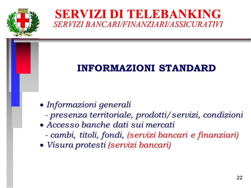 22 SERVIZI DI TELEBANKING SERVIZI BANCARI/FINANZIARI/ASSICURATIVI INFORMAZIONI STANDARD Informazioni generali Informazioni generali - presenza territoriale, prodotti/servizi, condizioni - presenza territoriale, prodotti/servizi, condizioni Accesso banche dati sui mercati Accesso banche dati sui mercati - cambi, titoli, fondi, (servizi bancari e finanziari) - cambi, titoli, fondi, (servizi bancari e finanziari) Visura protesti (servizi bancari) Visura protesti (servizi bancari)